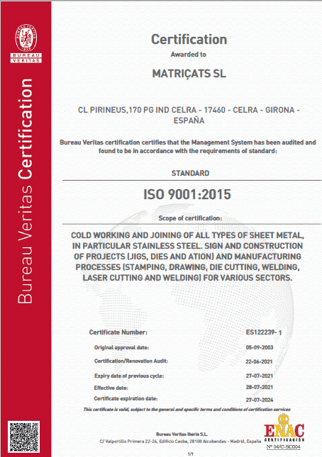 Iso 9001 certificate stamping matricats